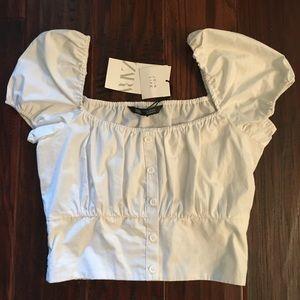 Zara Women's White Peasant Crop Top